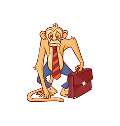 tired and exhausted monkey in business pants and vector image