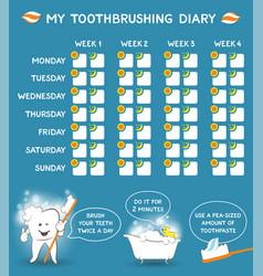 toothbrushing diary for kids week starts monday vector image