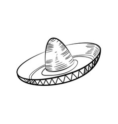 Traditional mexican sketch sombrero vector