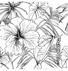 Tropical exotic flowers and leaves seamless vector