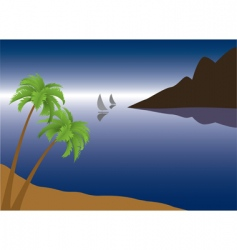 Tropical palm beach vector