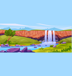 Tropical waterfall landscape rocky mountain river vector