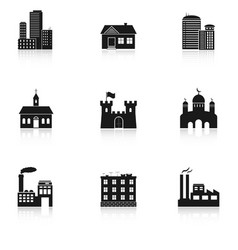 various buildings icons vector image