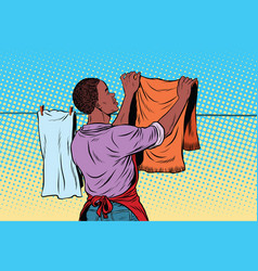 Vintage employee hangs up to dry clothes vector