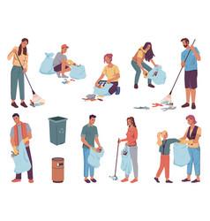 volunteers people cleaning garbage pickup trash vector image