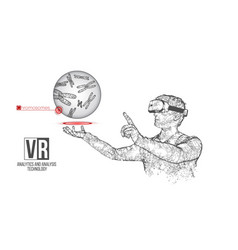 vr wireframe headset man with chromosome vector image