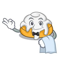 Waiter cinnamon roll mascot cartoon vector