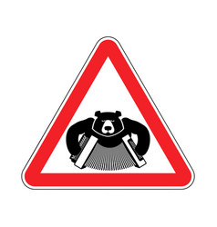 Warning russia bear with accordion with red vector