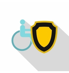 Wheelchair and safety shield icon flat style vector image