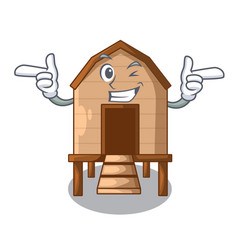Wink chicken coop isolated on a mascot vector