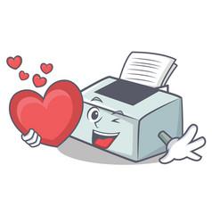 With heart printer mascot cartoon style vector