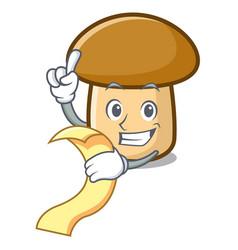 With menu porcini mushroom mascot cartoon vector