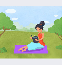 woman relaxing in park reading book on blanket vector image