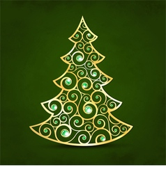 Xmas golden tree vector image