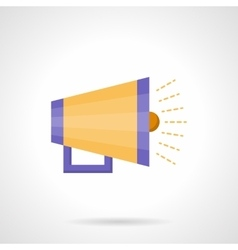Yellow loudspeaker flat color icon vector image