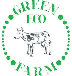 Eco cow farm vector