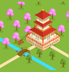 japanese temple isometric view vector image vector image