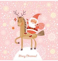 Santa Claus on a horse vector image