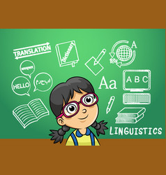 school girl write linguistics sign object in vector image vector image