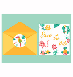 tropical invitation card with bright birds vector image vector image