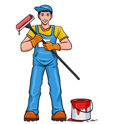 Worker painter in his equipment vector image