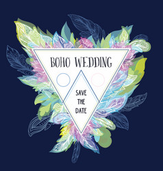 boho wedding card template vector image