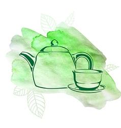 green tea watercolor vector image