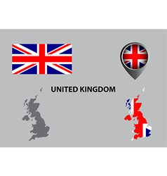 Map of United Kingdom and symbol vector image