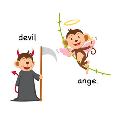 opposite words devil and angel vector image vector image