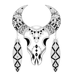 Zentangle Animal Skull feathers vector image vector image