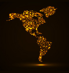 Abstract map of america continent with glowing vector