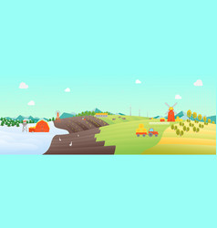 cartoon seasons landscape background vector image