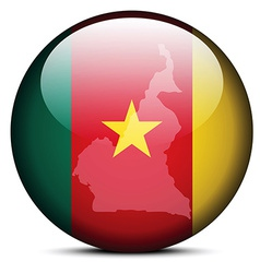 Map on flag button of Republic of Cameroon vector image