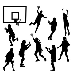 Female basketball silhouettes vector image vector image