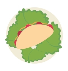single taco on plate icon vector image