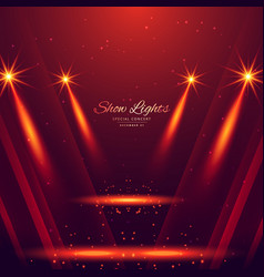 spot lights on red background vector image vector image