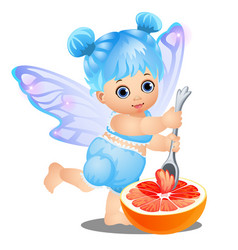 a little happy girl with blue hair and fairy wings vector image