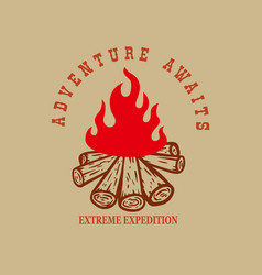 adventure awaits campfire design element vector image