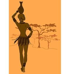 African tribal seminude girl vector