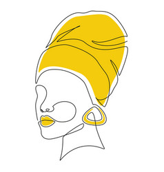 African women face in headwrap in one line drawing vector