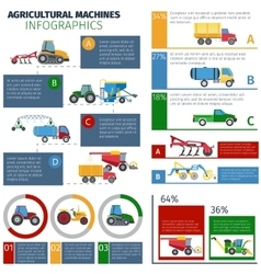 Agricultural Machines Infographic Set vector