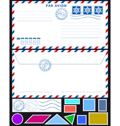 Airmail envelope and stamps set vector image