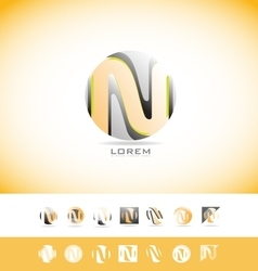 Alphabet letter N sphere logo icon set vector image