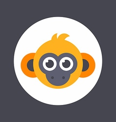 Animals Colored in bright orange flat of monkey vector image