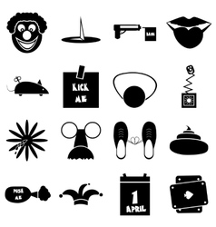April fools day icons set simple style vector