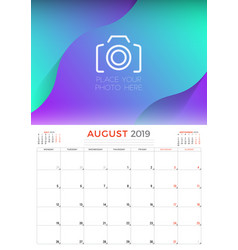 august 2019 calendar planner stationery design vector image