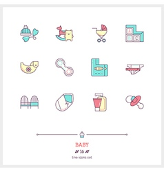 Baby line icons set vector