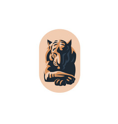 big tiger with closed eyes vector image