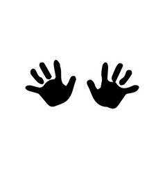Black silhouette of baby hand prints isolated on vector