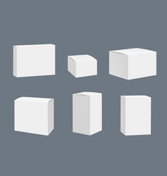 Blank packages mockup quadrate white closed boxes vector